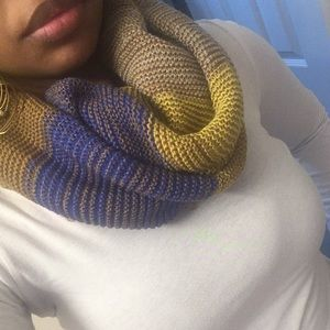 Multi colored infinity scarf.